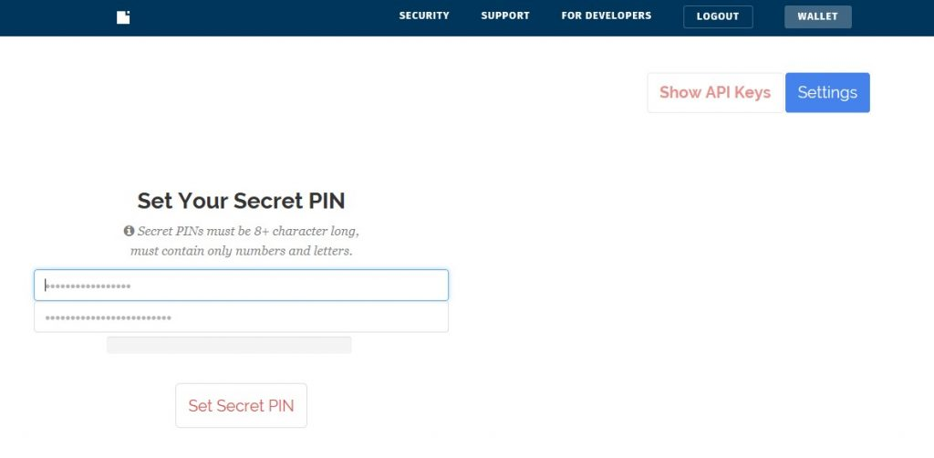 Block.io - Set Your Secret Pin